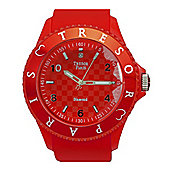 Tresor Paris Watch 018793 - Stainless Steel Bezel - Silicone Strap - Diamond Set Dial - 44mm - Red