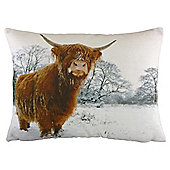 Snowy Highland Cow Cushion