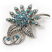 Light Blue Crystal Floral Brooch (Silver Tone)