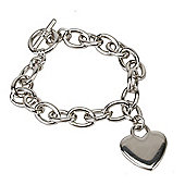 Heart Charm Chunky Toggle Bracelet