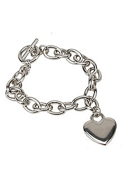 Heart Charm Chunky Toggle Bracelet