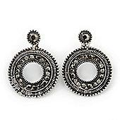 Antique Silver Marcasite Hematite Crystal Hoop Clip-On Drop Earrings - 35mm Length