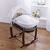 Clair de Lune Dark Wicker Moses Basket (Dimple White)