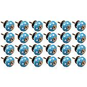 Ceramic Cupboard Drawer Knobs - Polka Dot Design - Light Blue / White - Pack Of 24