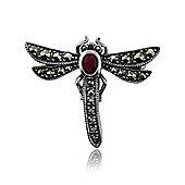 Gemondo 925 Silver Marcasite & Ruby Dragonfly Brooch