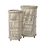 Parlane Set of Two 'Medina' Rattan Candle Holders - 45 x 25cm