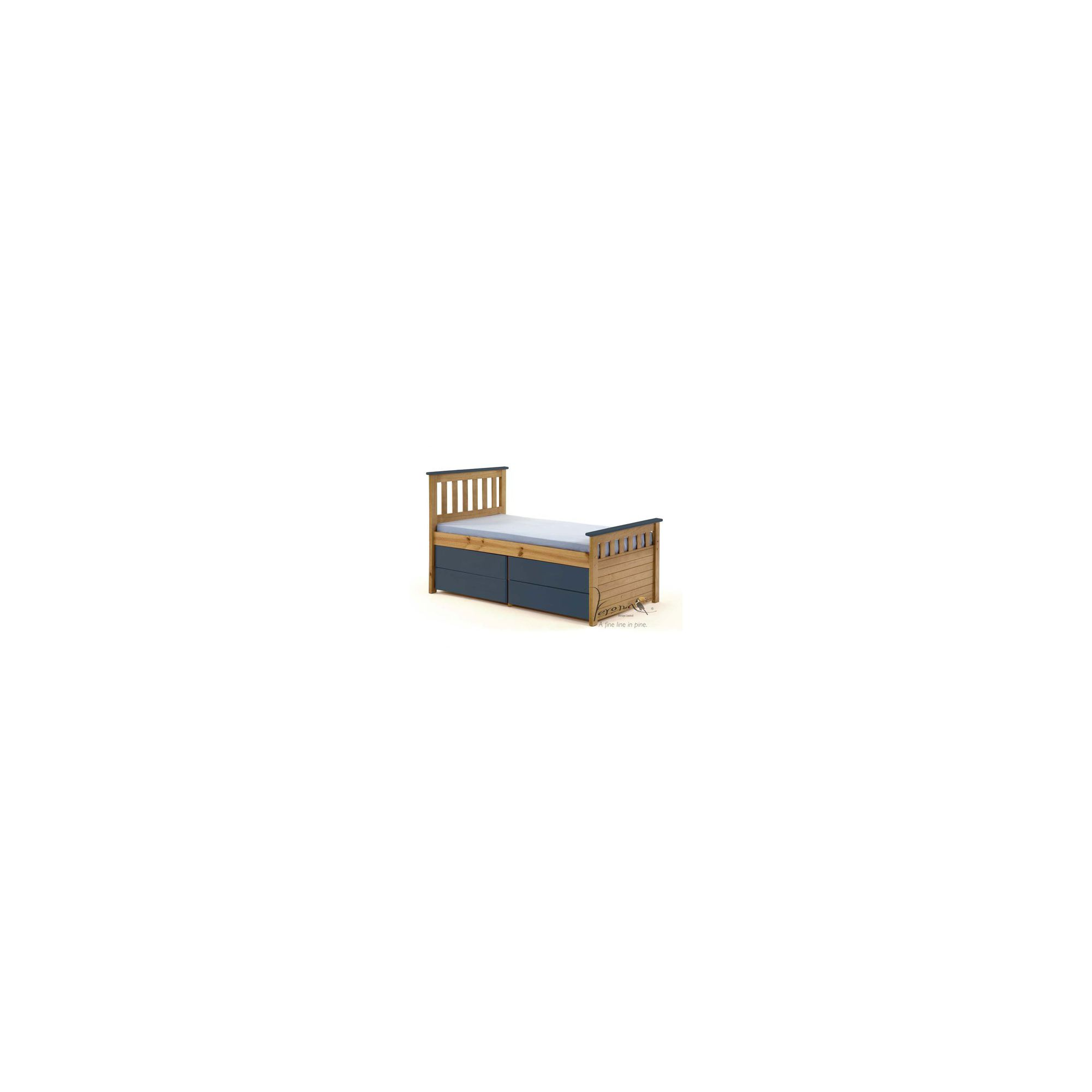 Verona Ferrara Kids Captains Bed with Underbed Storage - Antique Blue at Tesco Direct