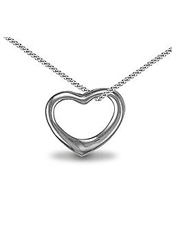 Sterling Silver Heart Pendant - 18 inch Chain