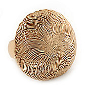 Large Gold Plated Woven Dome Statement Stretch Ring - 40mm Diameter - Size 7/8 Expandable