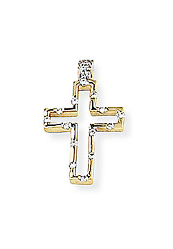 Jewelco London 18ct Yellow Gold - Diamond - Open Cross Charm Pendant -