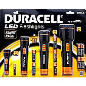 Duracell 4 Torch QTR-A Flash Light Set + 10 Batteries