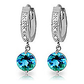 QP Jewellers Blue Topaz & SI-2 Diamond Studded Huggie Earrings in 14K White Gold