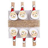 Santa Christmas Pegs, 6 pack