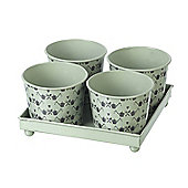 Parlane Four Shabby Chic Green Tin Plant Pots with a Tray - 12 x 20.5cm
