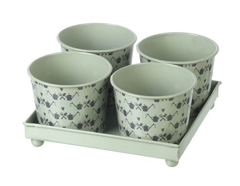 buy parlane four shabby chic green tin plant pots with a. Black Bedroom Furniture Sets. Home Design Ideas