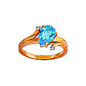 QP Jewellers Diamond & Blue Topaz Flank Ring in 14K Rose Gold