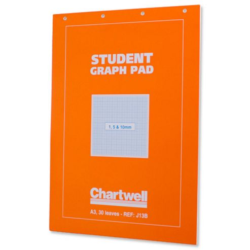 Chartwell Student Graph Pad 70gsm 1mm 5mm 10mm Grid 30 Sheets A3 Orange Cover Ref J13BZ