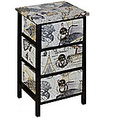 Atlas - Travel / Map Mini Chest Of 3 Drawers - Black / White / Blue