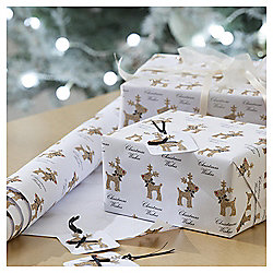 Glitter Reindeer Luxury Christmas Wrapping Paper, 3m