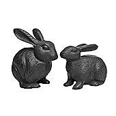 Pair of Black Cast Iron Rabbit Garden Ornaments