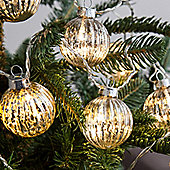 10 Distressed Silver Glass Bauble Indoor LED Fairy Lights