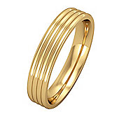 Jewelco London 9ct Yellow Gold - 4mm Essential Flat-Court Ribbed Band Commitment / Wedding Ring -