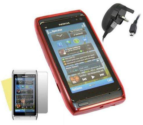 iTALKonline LCD Protector, Mains Charger and ProGel Case Red - For Nokia N8