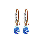 QP Jewellers Blue Topaz & SI-1 Diamond Stem Droplet Hook Earrings in 14K Rose Gold