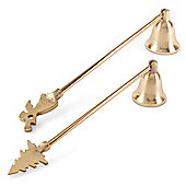 Pair of Gold Finish Metal Christmas Home Accessory Candle Snuffer Decorations