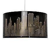 New York Skyline Ceiling Light Shade in Gloss Black