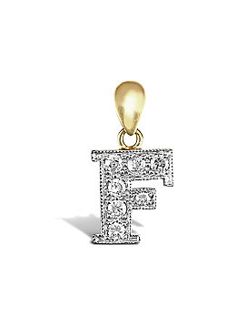 9ct Yellow Gold Cubic Zirconia Initial Charm Identity Pendant - Letter F