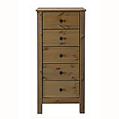 Solid Wood - 5 Drawer Storage Bedside Cabinet - Dark Stain
