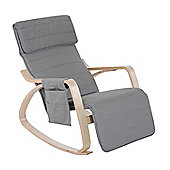 Homcom Wooden Rocking Lounge Chair Recliner Relaxing Seat with Adjustable Footrest & Side Pocket & Cushion (Light grey)