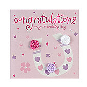 Rosebud Horseshoe Congratulations Wedding Card