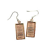 Bezel Handmade Earring Rectangle Copper with Sterling Silver Ear Hooks