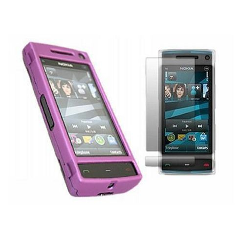 iTALKonline Purple Hybrid Case, LCD Screen Protector and Cleaning Cloth - For Nokia X6