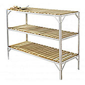 """Simplicity Caverswall Staging / Bench Wooden Three Tier 18"""" Wide x 4ft Long"""