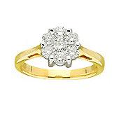 9ct Gold 0.75 Carat Cluster Diamond Ring