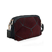 Burgundy Faux Pony Skin Shoulder Bag