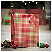 Tesco Traditional Tartan Christmas Gift Bag, Large