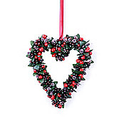 Artificial Frosted Red Berry Hanging Heart Christmas Decoration