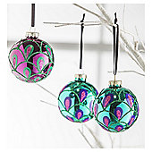 Tesco Peacock Design Baubles, 3 Pack