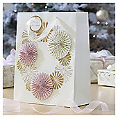 Gold and Pink Fan Christmas Gift Bag, Large