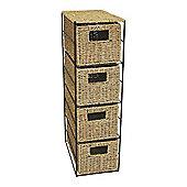 JVL Seagrass 4 Drawer Storage Unit