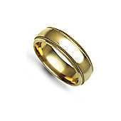 Jewelco London Bespoke Hand-Made 9 carat Yellow Gold 6mm Court Mill-Grain Wedding / Commitment Ring,