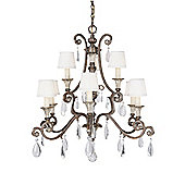 Savoy House Versalles Nine Light Chandelier in New Tortoise Shell with Silver