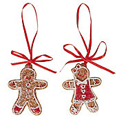 Pair of Small Gingerbread Girl & Boy Christmas Tree Decorations