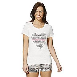 F&F Tribal Heart Print Shorts Pyjamas 08 - 10 Multi