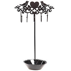 Bird - Whimsical Metal Jewellery Stand / Tree - Black