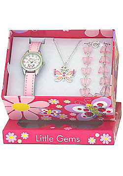 Girls Pink Butterfly Watch and Jewellery Gift Set